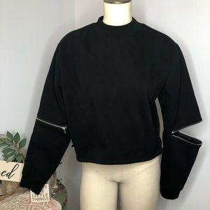 KENDAL+KYLIE Black Crew Neck Crop Sweatshirt S